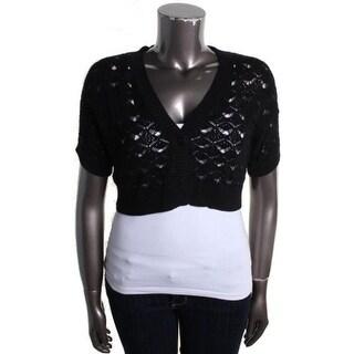 Calvin Klein Womens Cardigan Sweater Crochet Short Sleeves - XL