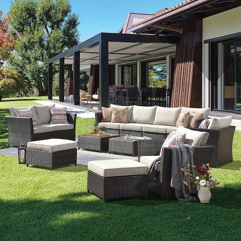 Ovios Patio Furniture 12-piece Rattan Wicker Outdoor Sectional Set