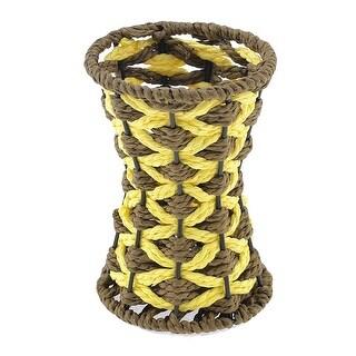 DIY Handcrafted Metal Rib Paper String Floral Basket Holder Yellow Brown