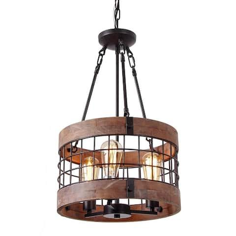 3 light vintage industrial rustic wood chandelier, circular wire cage pendant lamp light fixture