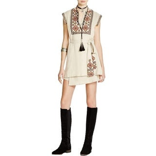 Free People Womens Running Wild Wrap Dress Embroidered Pintuck