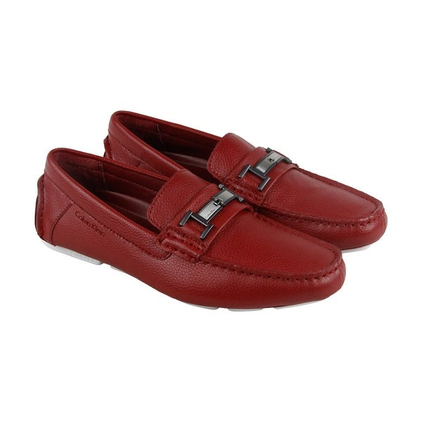 37e8e6c9cf0 Calvin Klein Magnus Mens Red Leather Casual Dress Slip On Loafers Shoes