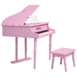 Childs 30 key Toy Grand Baby Piano w/ Kids Bench Wood Pink New