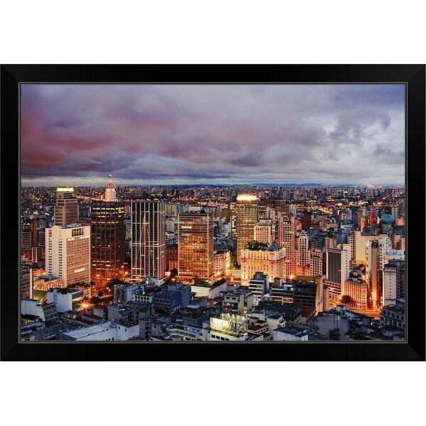 """Sao Paulo skyline at dusk"" Black Framed Print"