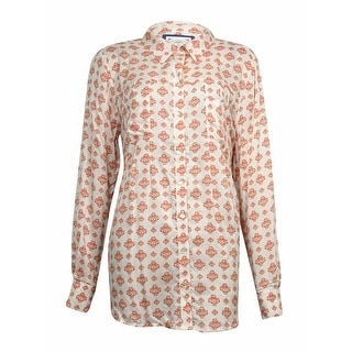 Style & Co Women's Pleated Button Down Printed Blouse