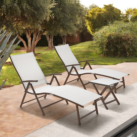 Outdoor Aluminum Folding Adjustable Chaise Lounge Chair and Table Set