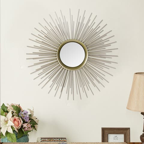 ADECO Collection Sunburst Mirror Classic Metal Decorative Wall Decor - Medium