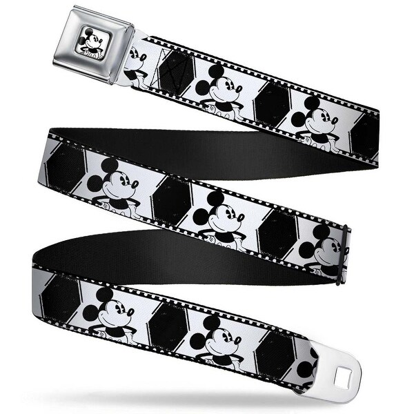 Mickey Standing Full Color White Black Mickey Standing Pose Film Strip Seatbelt Belt