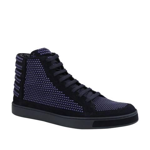 Gucci Men's Studs Lace up Dark Blue Suede Leather Hi Top Sneaker 391687 4018