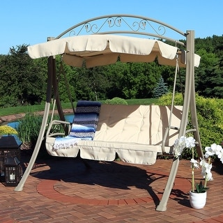 Sunnydaze Deluxe Patio Swing with Heavy Duty Steel, Frame, Beige Cushions and Canopy, Seats 3 People, 600 Pound Capacity