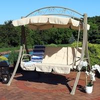 Sunnydaze Deluxe Steel Frame Beige Cushioned Garden Swing with Canopy