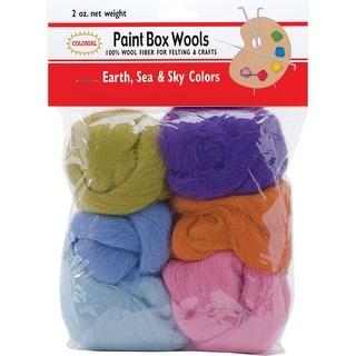 Paint Box Wools .33oz 6/Pkg-Earth, Sea & Sky -Orn/Olv/Pur/Pk - earth, sea & sky -orn/olv/pur/pk/bl/seaf