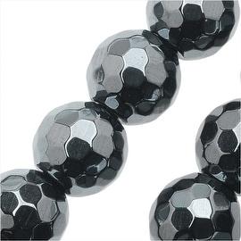 Hematite Gemstone Beads, 8mm Faceted Round, 16 Inch Strand, Metallic Gray