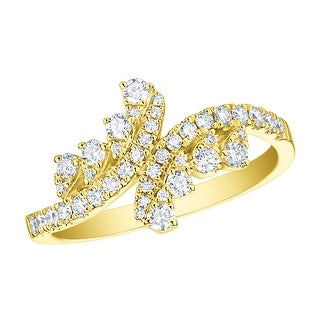 Prism Jewel 0 51Ct Round G H SI1 Natural Diamond Wrap Bypass Ring