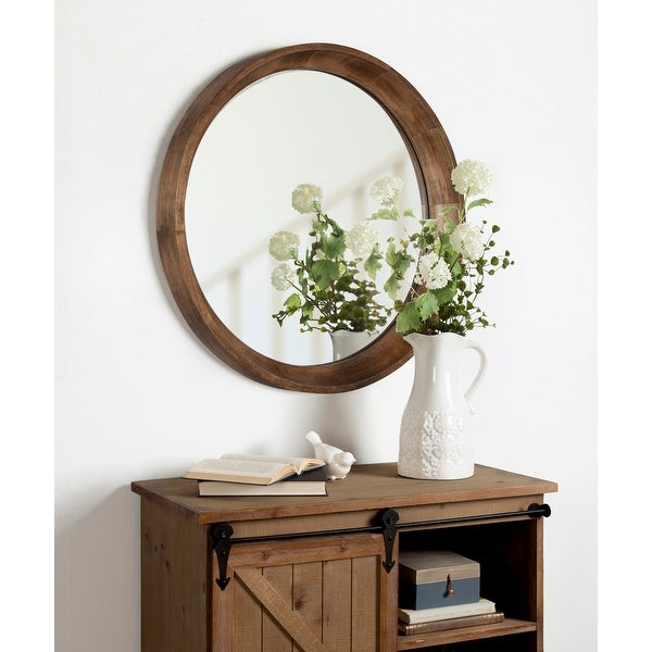 Kate and Laurel Colfax Round Wood Framed Wall Mirror - Natural. Opens flyout.