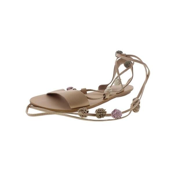 Loeffler Randall Womens Saskia Flat Sandals Pom Pom Ankle Wrap