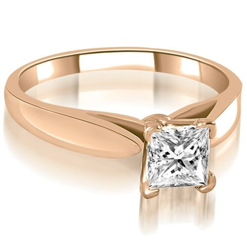 0.75 cttw. 14K Rose Gold Cathedral V-Prong Solitaire Diamond Engagement Ring