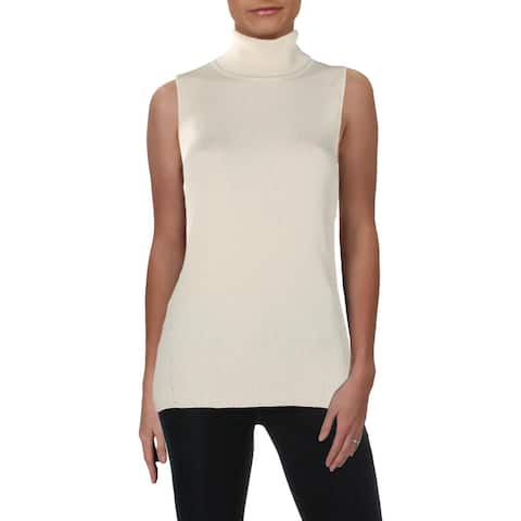 Anne Klein Womens Turtleneck Sweater Ribbed Sleeveless - L