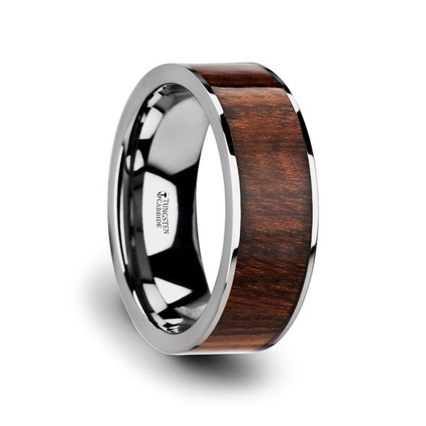 Thraco Flat Carpathian Wood Inlaid Tungsten Carbide Ring With Polished Edges