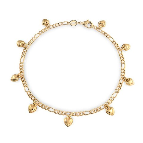 Bling Jewelry 18K Gold Plated Brass Figaro Chain Heart Charm Bracelet Anklet 9.5 Inch