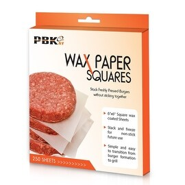 "Hamburger Patty Paper Sheets, Parchment Paper Squares 250 pcs 6"" x 6"" Non-Stick"