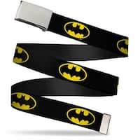 """Blank Chrome 1.0"""" Buckle Batman Shield Black Yellow Webbing Web Belt 1.0"""" Wide - S"""