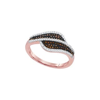 10kt Rose Gold Womens Round Red Colored Diamond Bypass Band Fashion Ring 1/3 Cttw - White