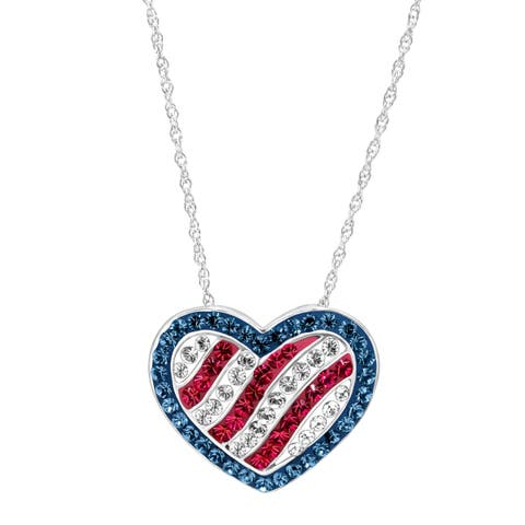 Crystaluxe American Flag Pendant With Swarovski Crystals in Sterling Silver - Blue