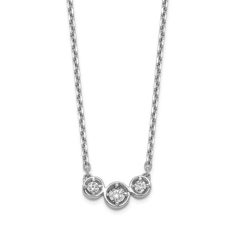 Sterling Silver Cubic Zirconia 16-inch with 2-inch Extension Necklace by Versil