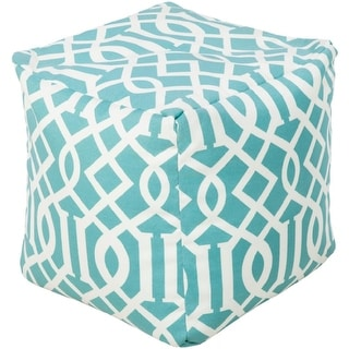 """18"""" Sky Blue and Ivory Square Chic Square Outdoor Patio Pouf Ottoman"""