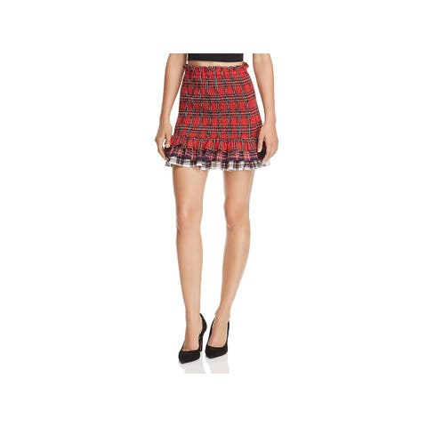 Endless Rose Womens Tiered Skirt Plaid Mini