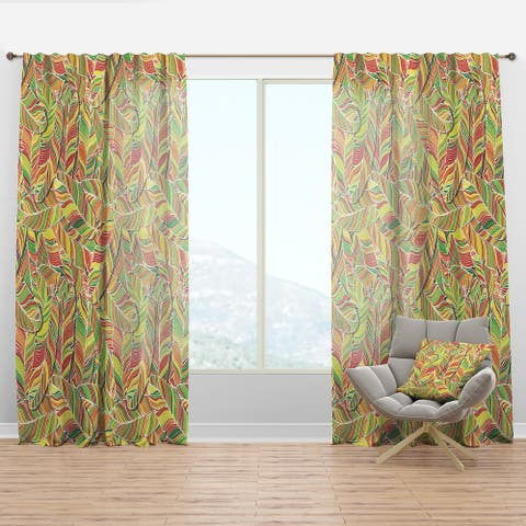Designart 'Brightly Colored Feathers' Southwestern Curtain Panel