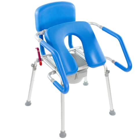 GentleBoost Uplift Assist Commode & Shower Chair with Integrated Toilet Safety Rail Self-Powered Uplift Seat