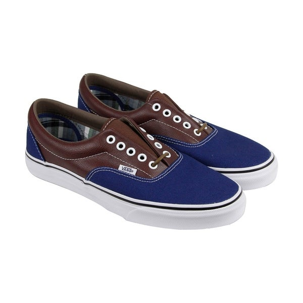 633b8100b2 Shop Vans Era Mens Blue Brown Canvas   Leather Lace Up Sneakers Shoes -  Free Shipping On Orders Over  45 - Overstock - 14154210