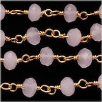 Rose Quartz Gemstone Gold Vermeil Wire Wrapped Chain 4mm Rondelles - By The Inch