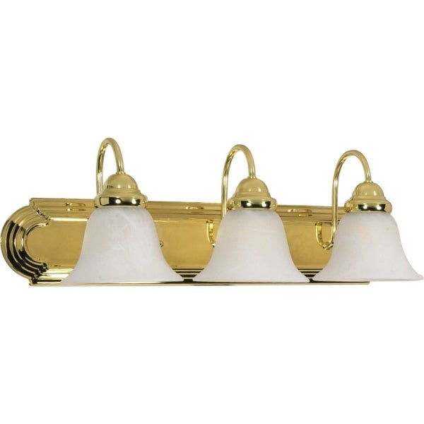 """Nuvo Lighting 60/329 Ballerina 3-Light 24"""" Wide Bathroom Vanity Light with Frosted Glass Shades - Polished brass"""