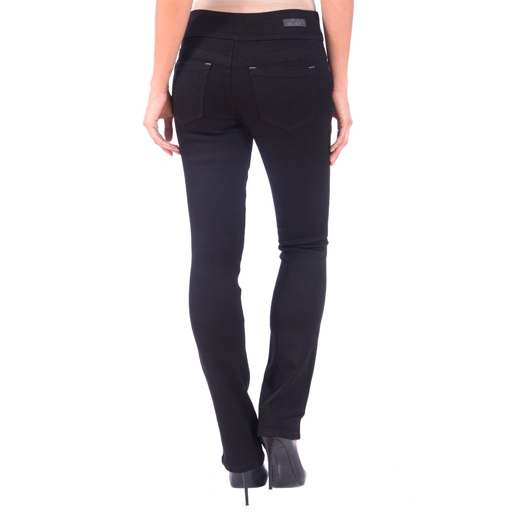 DISCONTINUED Lola Pull On Bootcut Jeans, Leah-BLK - Thumbnail 1
