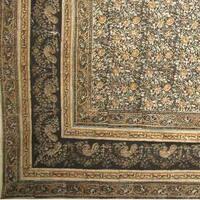 Handmade 100% Cotton Vegetable Dye Hand Block Printed Tapestry Tablecloth Green Full