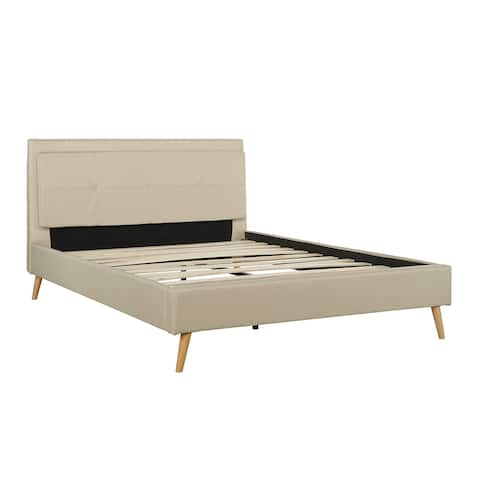 Modern Upholstered Bed Frame with Wooden Legs