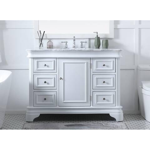 Knox Bathroom Wood and Carrara Marble 48-Inch Vanity Set