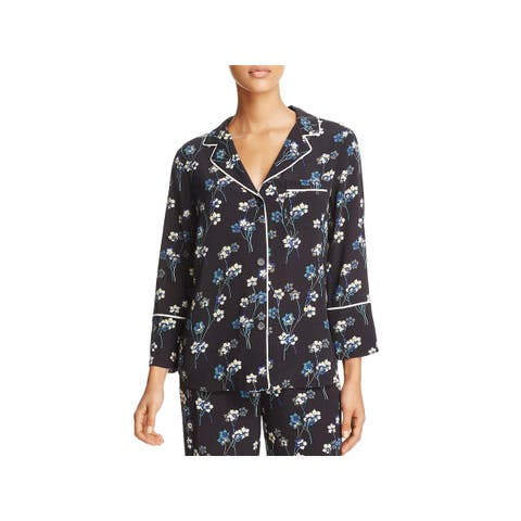 Ella Moss Womens Pajama Top Floral Print Contrast Piping