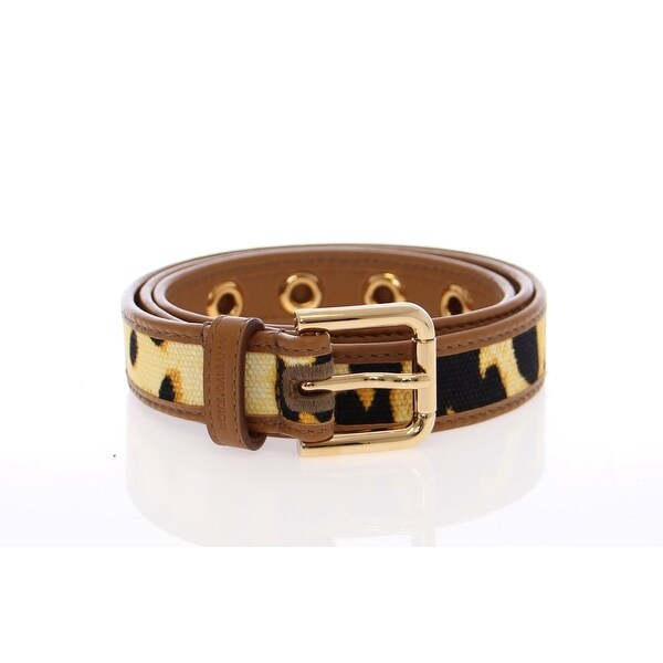 Dolce & Gabbana Yellow Leopard Leather Logo Belt
