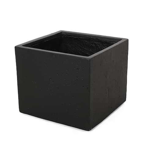 Ella Outdoor Cast Stone Square Planter by Christopher Knight Home