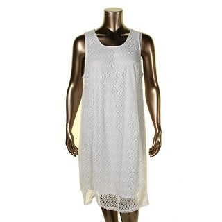 NY Collection Womens Plus Casual Dress Lace Overlay Sleeveless