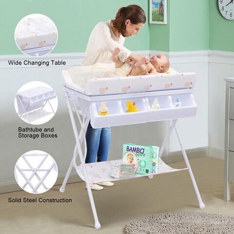 Costway Infant Baby Bath Changing Table Diaper Station Nursery Organizer Storage w Tube