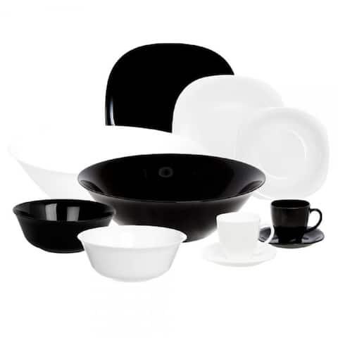 Luminarc Carine Dinnerware Black and White 38 Piece Set for 6
