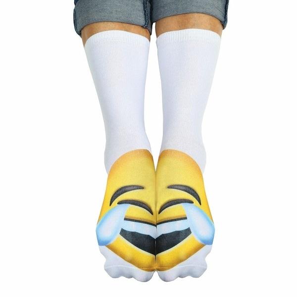Unisex Adult Tears of Joy Emoji Crew Socks - Matching Text Speak Emoticon Print