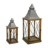 Set of 4 Gray and Brown Distressed Wood Finish Cast Iron Top Lantern with Metal Handle and Glass Sides