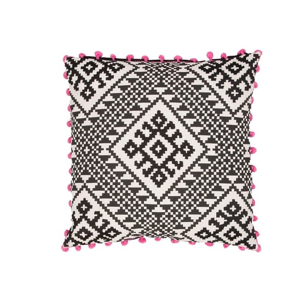 """20"""" Midnight black, Cement Gray with Neon Pink Trim Abstract Pattern Decorative Throw Pillow"""