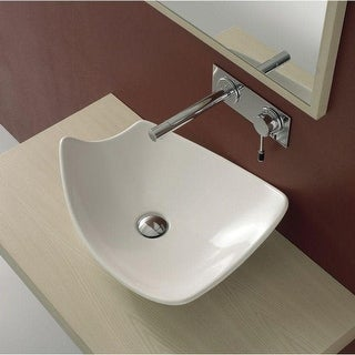 "Nameeks 8051  Scarabeo 18-7/8"" Ceramic Vessel Bathroom Sink - White / No Hole"